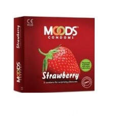 MOODS Strawberry Condoms (Pack of 3)