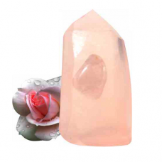 POD Rose Quartz Crystal Gemstone and Rose Essential Oil Glycerine Soap